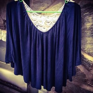 Discreet Navy Crop Top Netted Backing